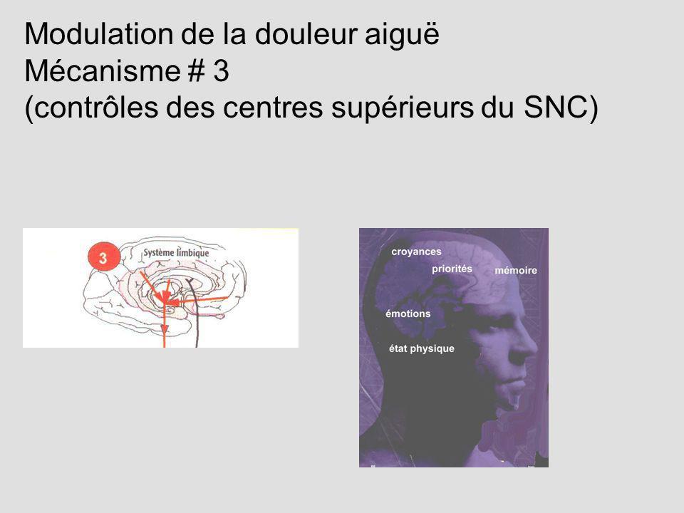 Modulation de la douleur aiguë Mécanisme # 3 (contrôles des centres supérieurs du SNC)