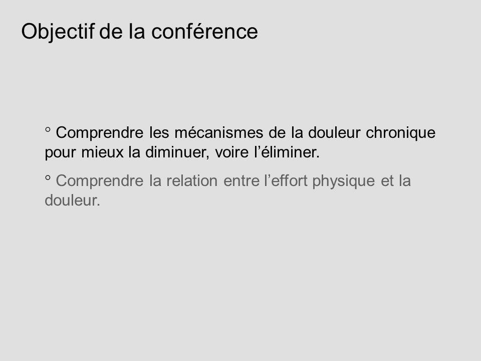 Objectif de la conférence Comprendre les mécanismes de la douleur chronique pour mieux la diminuer, voire léliminer. Comprendre la relation entre leff
