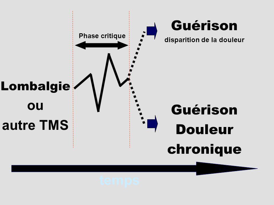 Lombalgie ou autre TMS Guérison disparition de la douleur Guérison Douleur chronique temps Phase critique