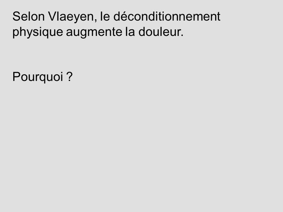 Selon Vlaeyen, le déconditionnement physique augmente la douleur. Pourquoi ?