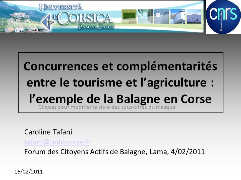16/02/2011 Contexte de létude Thèse de doctorat de géographie de luniversité de Corse : « Agriculture, territoire et développement durable.
