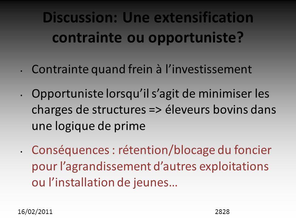 16/02/2011 Discussion: Une extensification contrainte ou opportuniste.