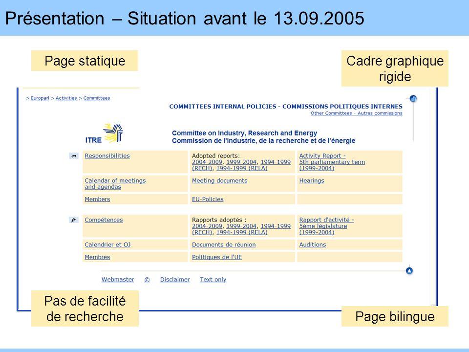 Présentation – Situation avant le 13.09.2005 Page statiqueCadre graphique rigide Pas de facilité de recherche Page bilingue