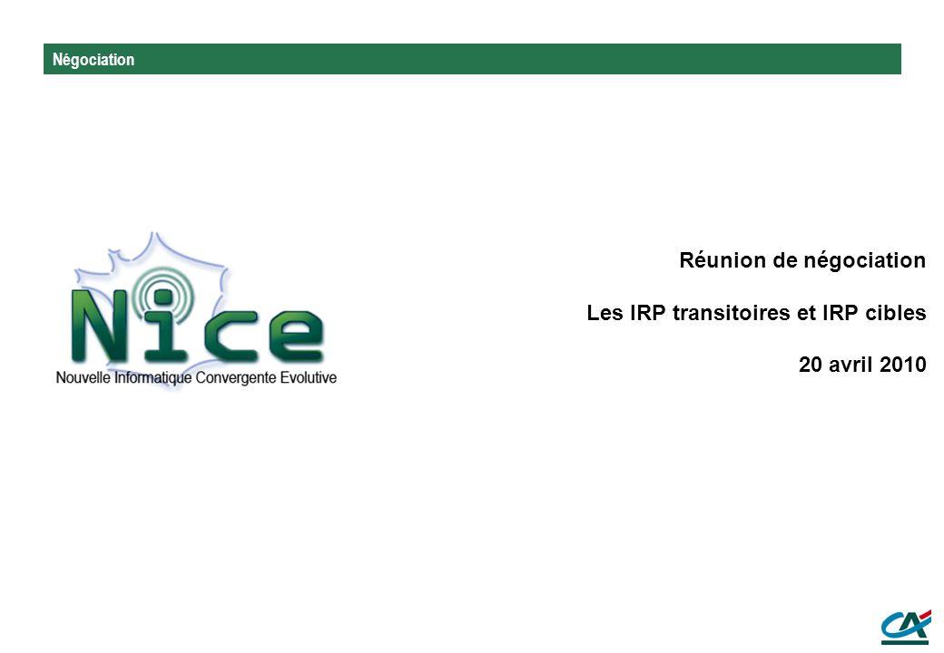 Négociation Réunion de négociation Les IRP transitoires et IRP cibles 20 avril 2010