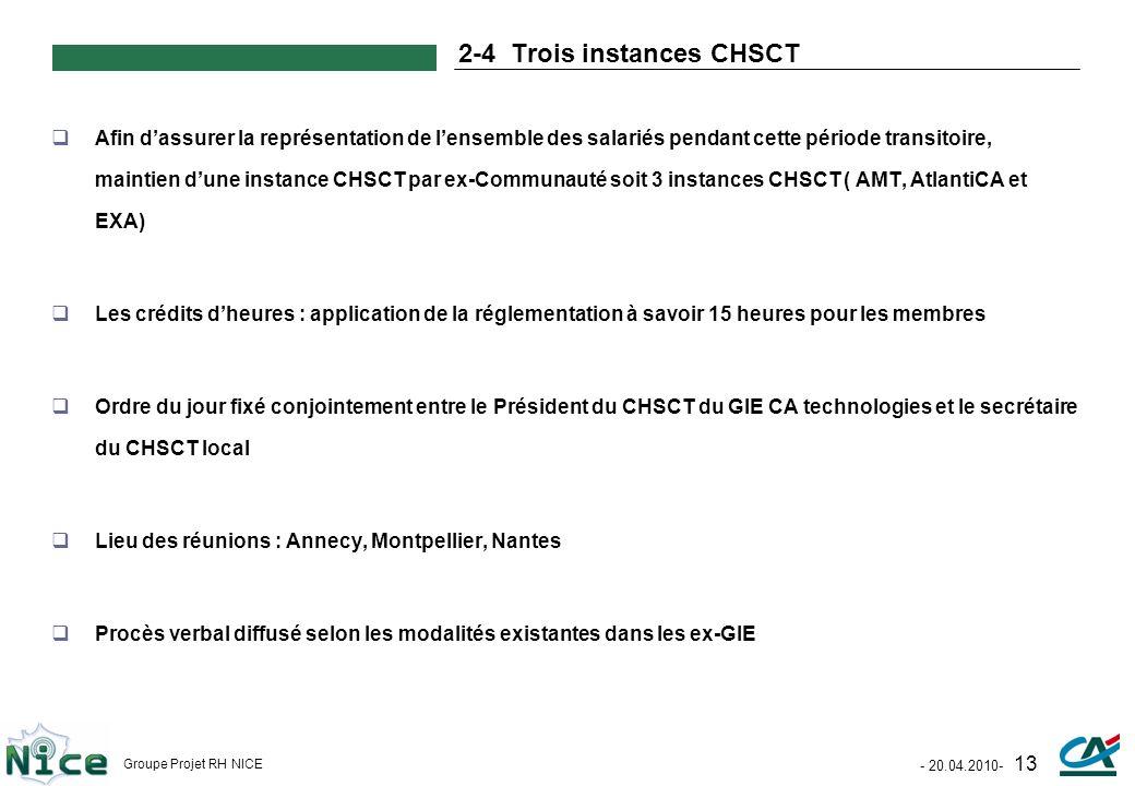 - 20.04.2010- 13 Groupe Projet RH NICE 2-4 Trois instances CHSCT Afin dassurer la représentation de lensemble des salariés pendant cette période trans