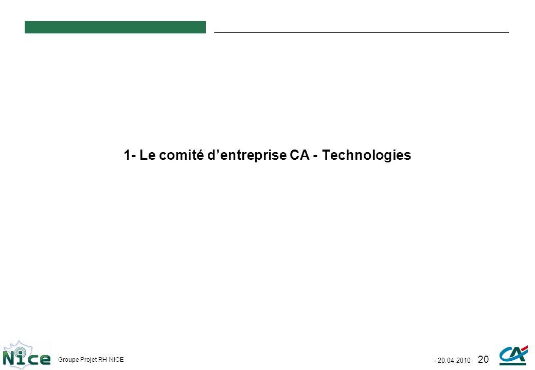 - 20.04.2010- 20 Groupe Projet RH NICE 1- Le comité dentreprise CA - Technologies