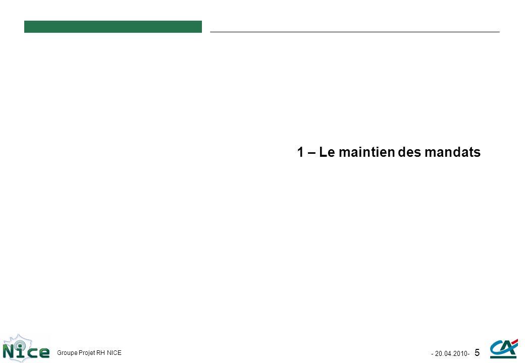 - 20.04.2010- 5 Groupe Projet RH NICE 1 – Le maintien des mandats