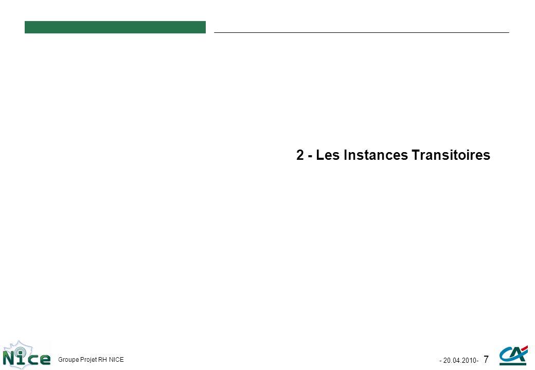 - 20.04.2010- 7 Groupe Projet RH NICE 2 - Les Instances Transitoires
