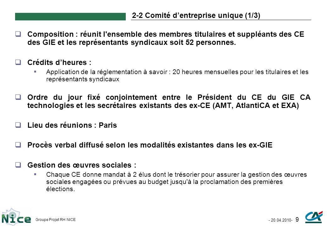 - 20.04.2010- 9 Groupe Projet RH NICE 2-2 Comité dentreprise unique (1/3) Composition : réunit l'ensemble des membres titulaires et suppléants des CE