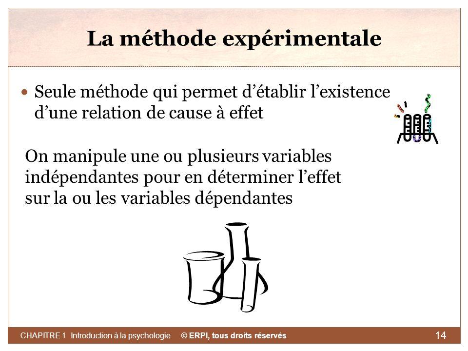 © ERPI, tous droits réservés CHAPITRE 1 Introduction à la psychologie 14 La méthode expérimentale Seule méthode qui permet détablir lexistence dune re