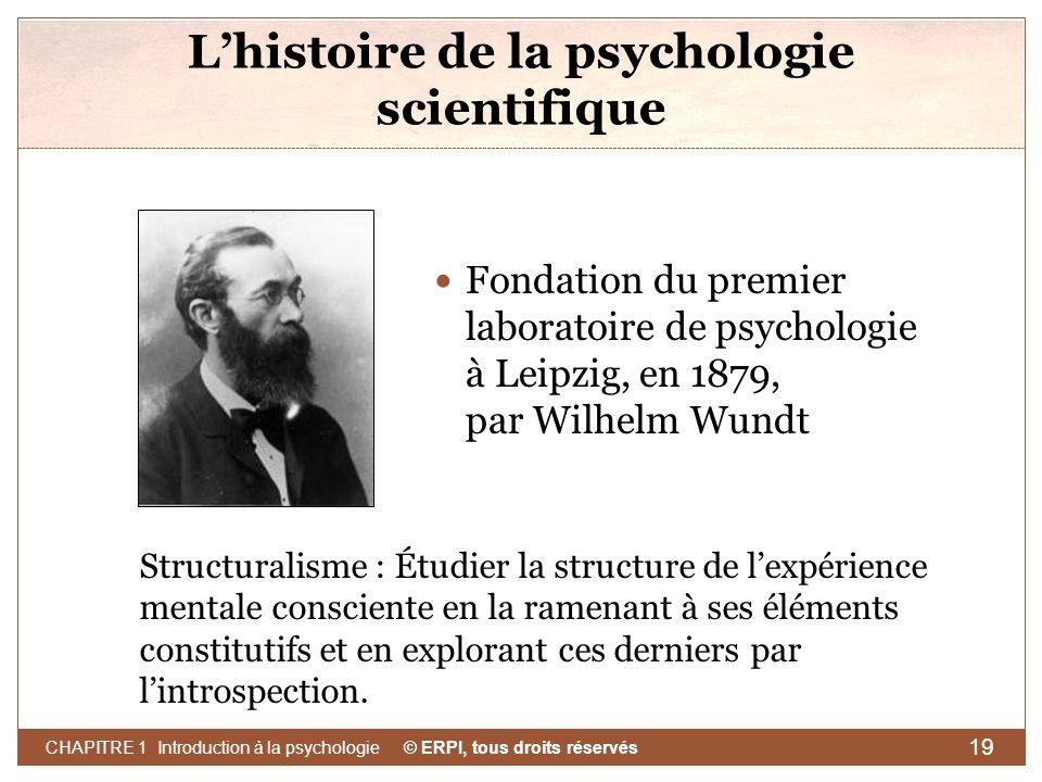 © ERPI, tous droits réservés CHAPITRE 1 Introduction à la psychologie 19 Lhistoire de la psychologie scientifique Fondation du premier laboratoire de