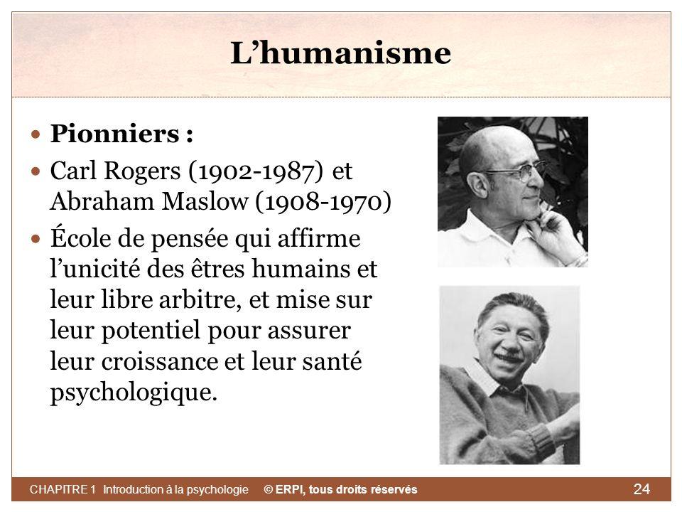 © ERPI, tous droits réservés CHAPITRE 1 Introduction à la psychologie 24 Lhumanisme Pionniers : Carl Rogers (1902-1987) et Abraham Maslow (1908-1970)