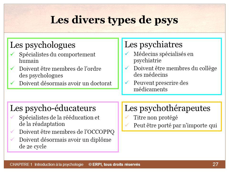 © ERPI, tous droits réservés CHAPITRE 1 Introduction à la psychologie 27 Les divers types de psys Les psychologues Spécialistes du comportement humain