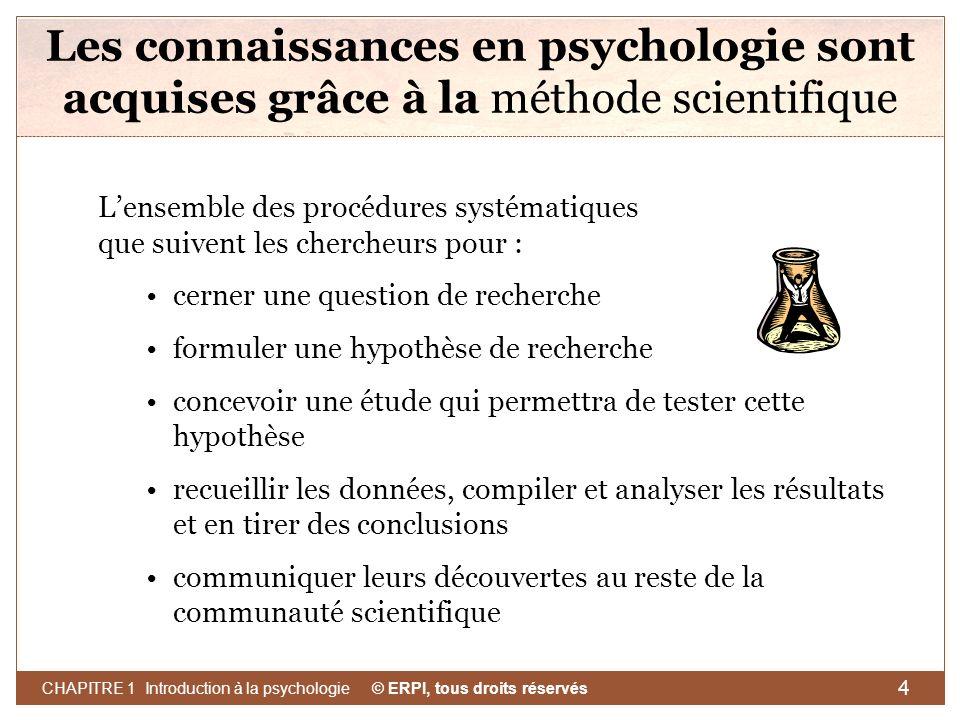 © ERPI, tous droits réservés CHAPITRE 1 Introduction à la psychologie 5 La méthode scientifique Hypothèse de recherche Prédiction sur la relation entre deux ou plusieurs variables.