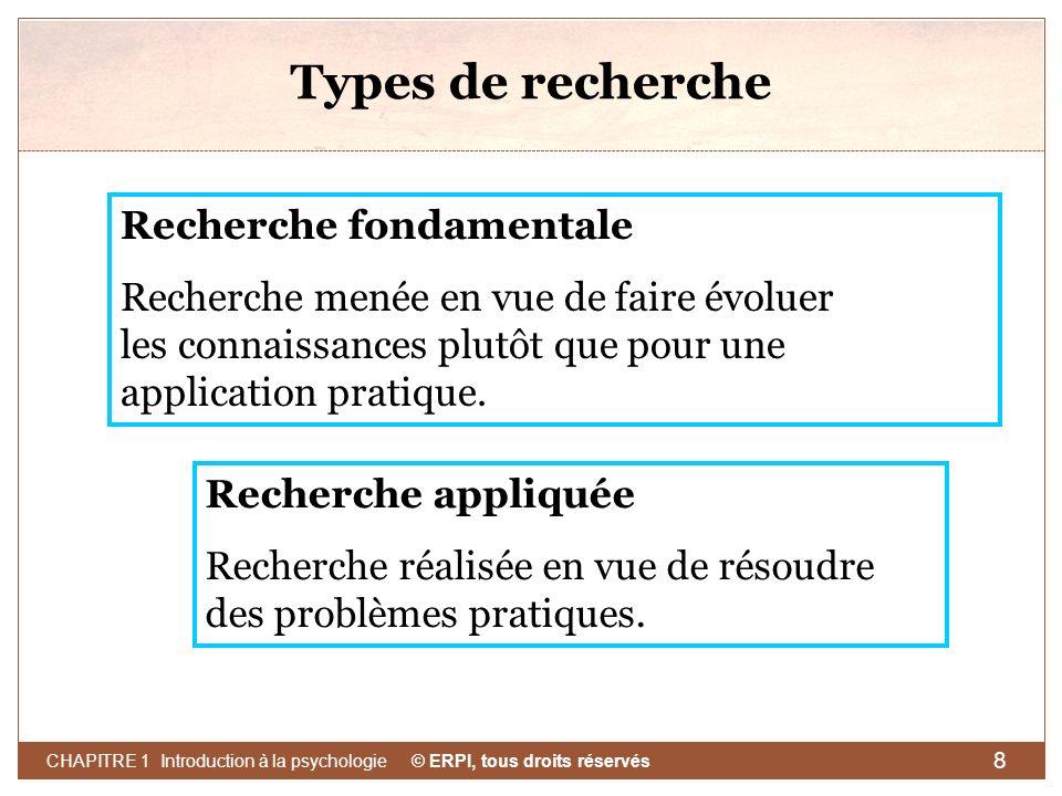 © ERPI, tous droits réservés CHAPITRE 1 Introduction à la psychologie 8 Types de recherche Recherche fondamentale Recherche menée en vue de faire évol