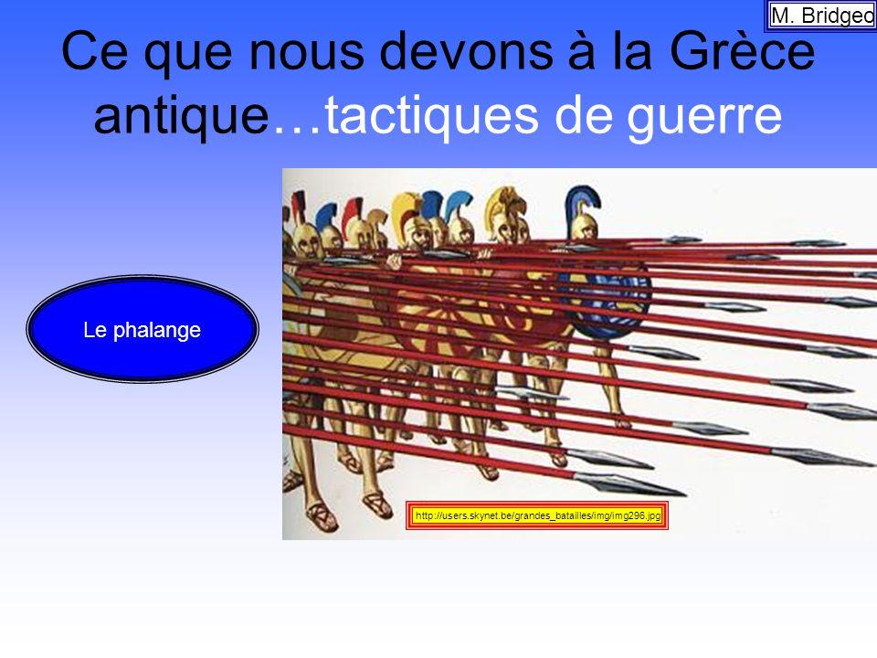 Ce que nous devons à la Grèce antique…tactiques de guerre M. Bridgeo http://users.skynet.be/grandes_batailles/img/img296.jpg Le phalange
