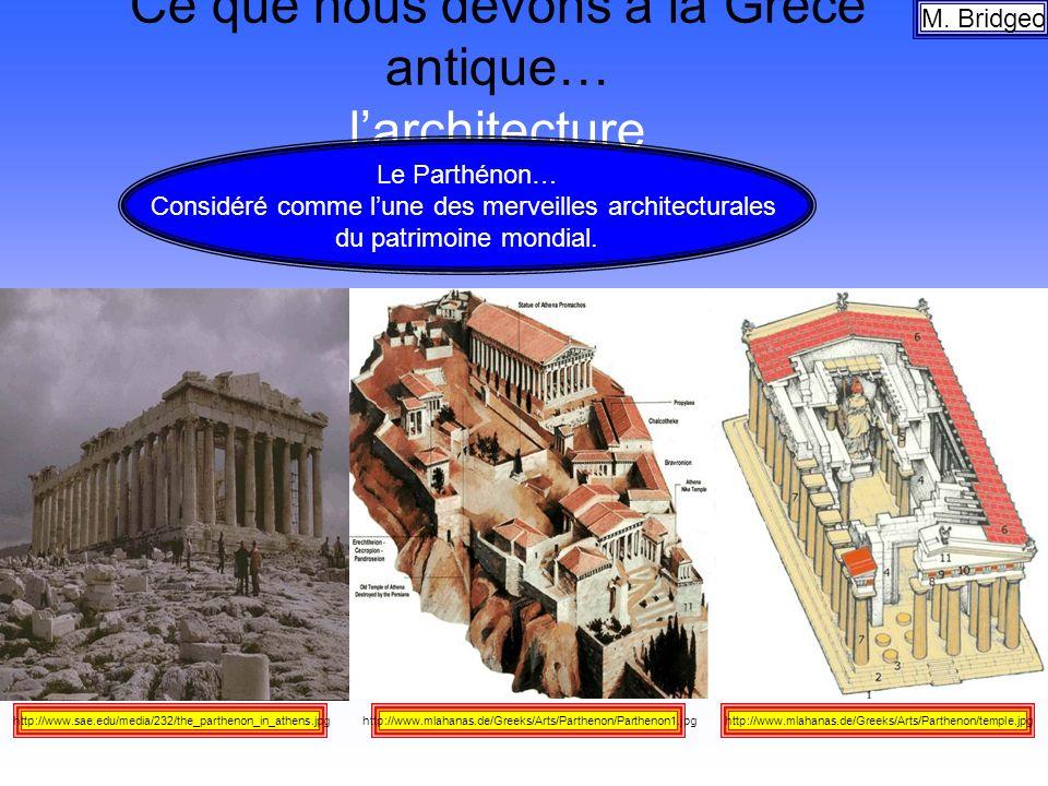 Ce que nous devons à la Grèce antique… larchitecture M. Bridgeo http://www.mlahanas.de/Greeks/Arts/Parthenon/temple.jpghttp://www.mlahanas.de/Greeks/A