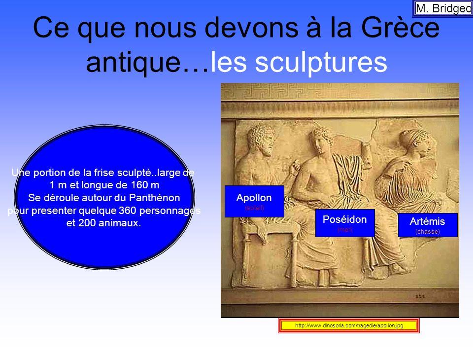 Ce que nous devons à la Grèce antique…les sculptures M. Bridgeo http://www.dinosoria.com/tragedie/apollon.jpg Une portion de la frise sculpté..large d