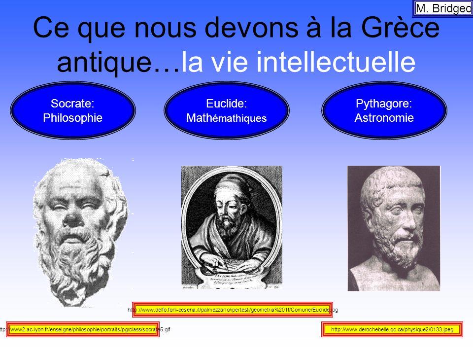 Ce que nous devons à la Grèce antique…la vie intellectuelle M. Bridgeo http://www.delfo.forli-cesena.it/palmezzano/ipertesti/geometria%201f/Comune/Euc