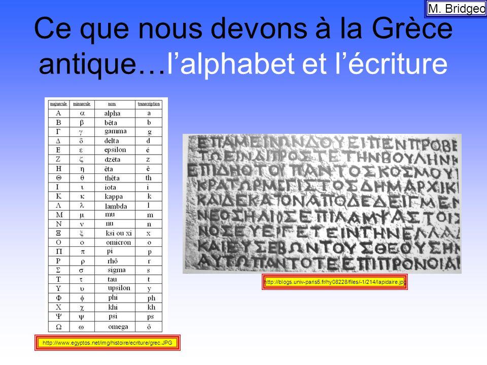 Ce que nous devons à la Grèce antique…lalphabet et lécriture M. Bridgeo http://blogs.univ-paris5.fr/hy08228/files/-1/214/lapidaire.jpg http://www.egyp