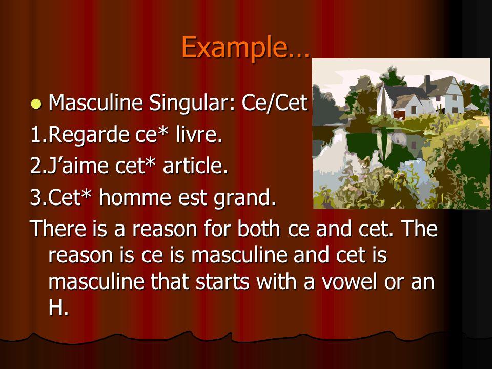 Example… Masculine Singular: Ce/Cet Masculine Singular: Ce/Cet 1.Regarde ce* livre.