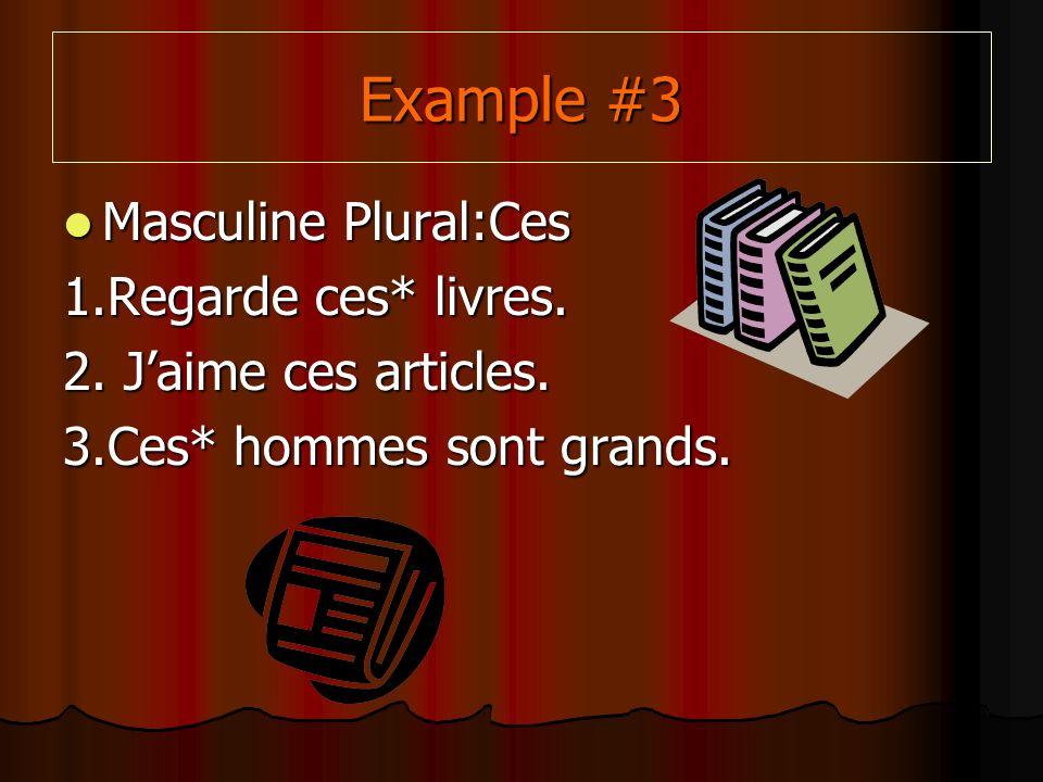 Example #3 Masculine Plural:Ces Masculine Plural:Ces 1.Regarde ces* livres.