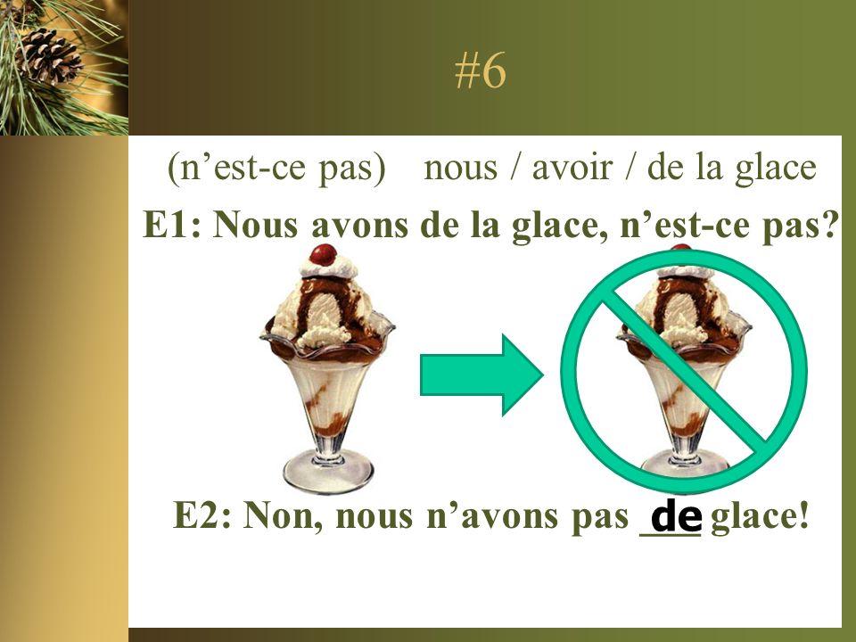 #6 (nest-ce pas) nous / avoir / de la glace E1: Nous avons de la glace, nest-ce pas.