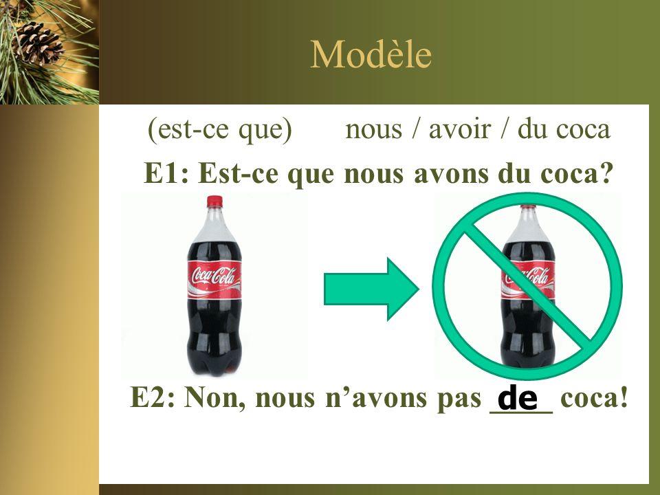 Modèle (est-ce que) nous / avoir / du coca E1: Est-ce que nous avons du coca.