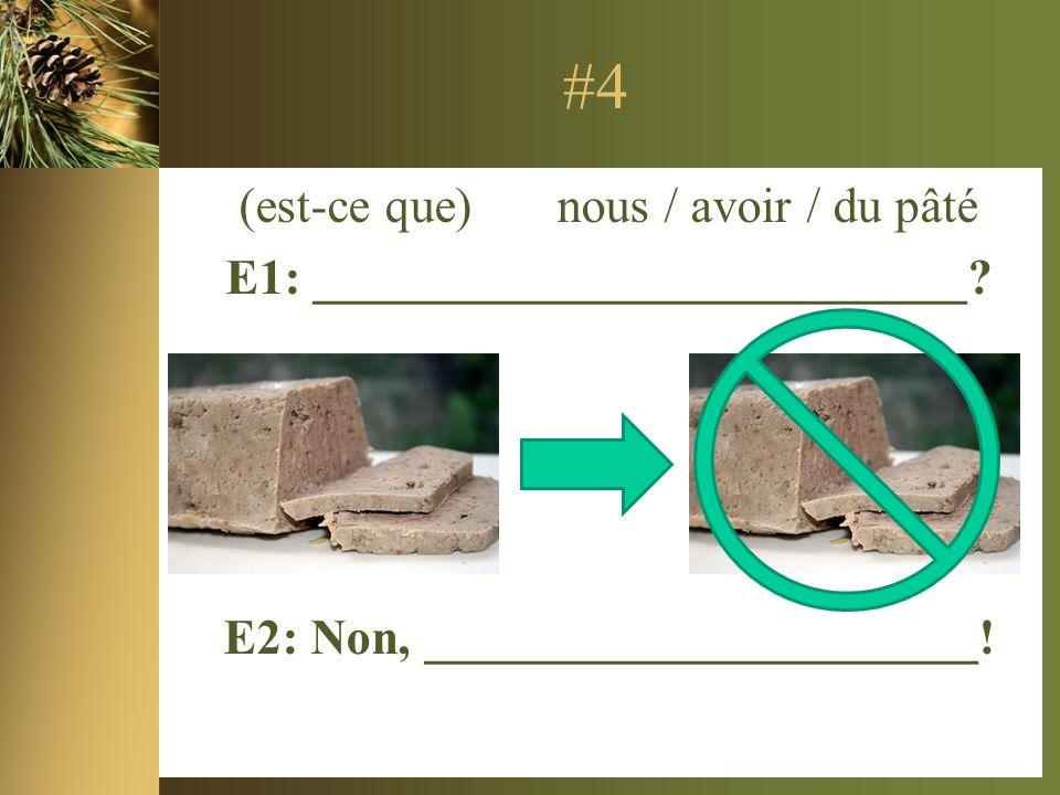 #4 (est-ce que) nous / avoir / du pâté E1: __________________________.