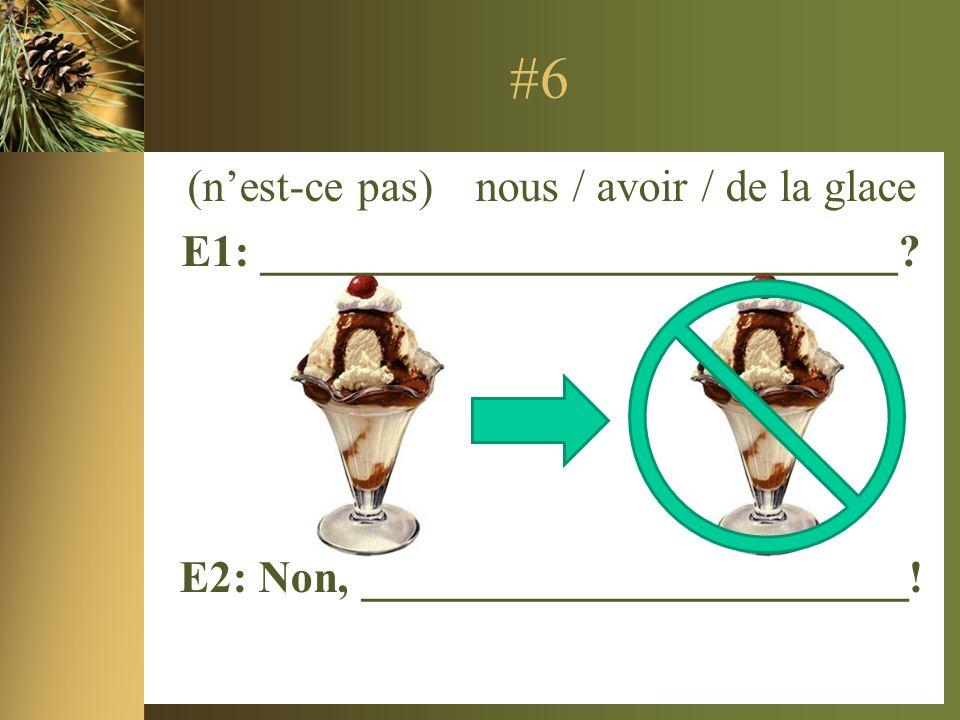 #6 (nest-ce pas) nous / avoir / de la glace E1: ____________________________.