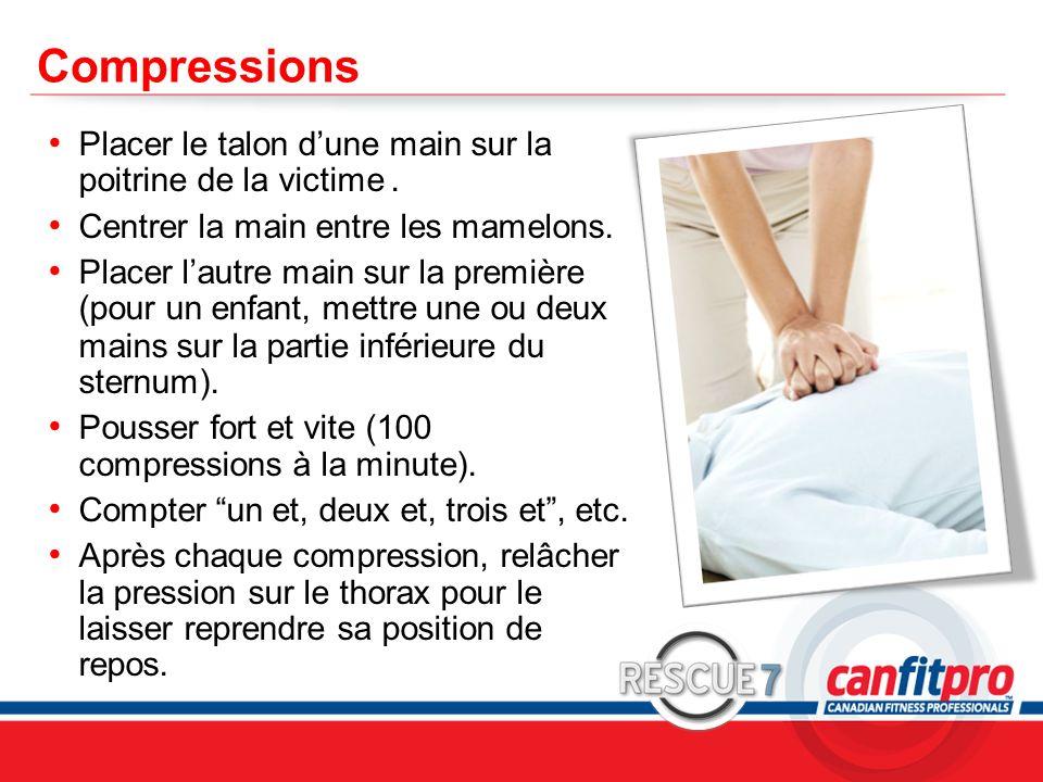 CPR Course Level 1 Compressions Placer le talon dune main sur la poitrine de la victime. Centrer la main entre les mamelons. Placer lautre main sur la