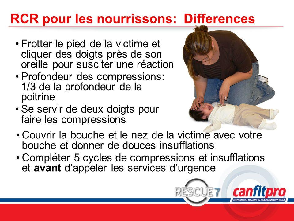CPR Course Level 1 RCR pour les nourrissons: Differences Frotter le pied de la victime et cliquer des doigts près de son oreille pour susciter une réa