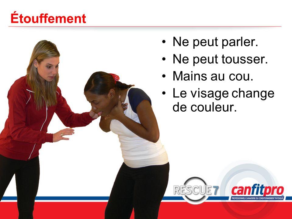 CPR Course Level 1 Étouffement Ne peut parler. Ne peut tousser. Mains au cou. Le visage change de couleur.