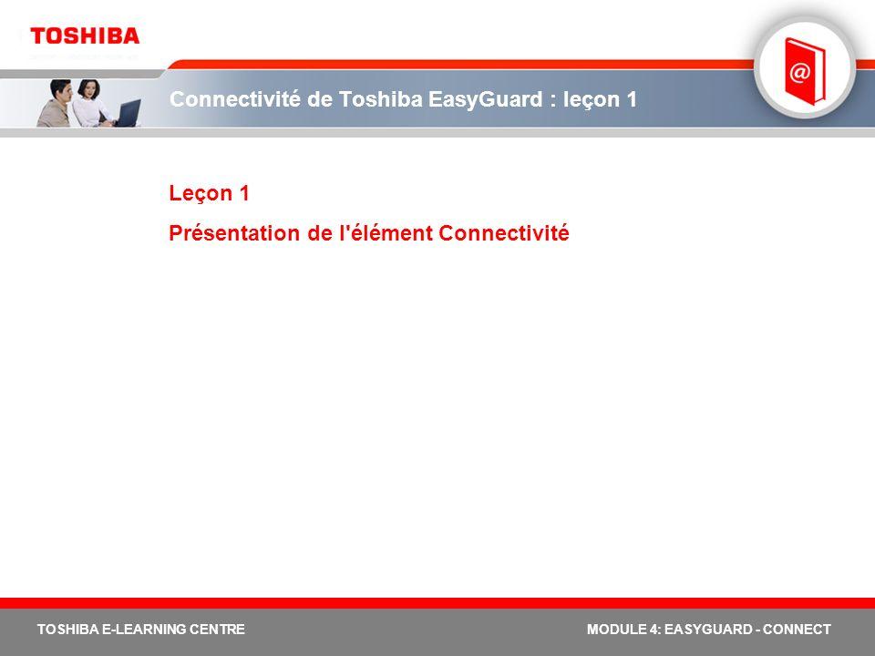 TOSHIBA E-LEARNING CENTREMODULE 4: EASYGUARD - CONNECT Connectivité de Toshiba EasyGuard : leçon 4 LEÇON 4 Qu est-ce qu une plateforme connectée ?