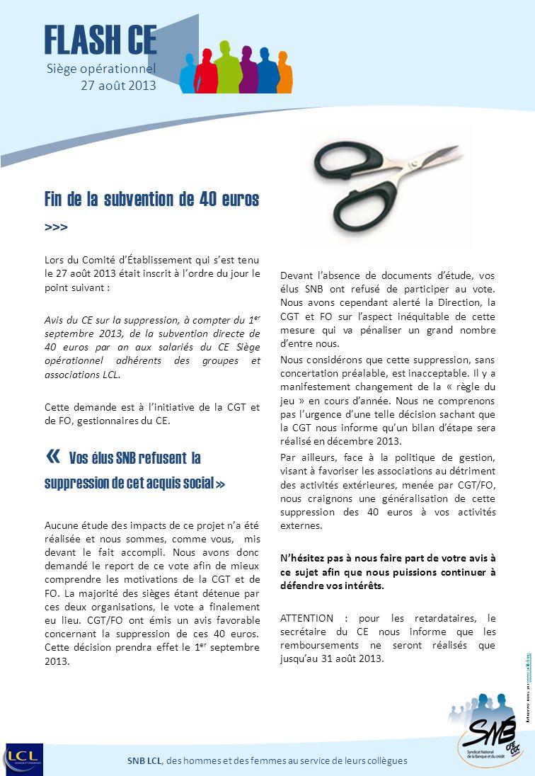 Fin de la subvention de 40 euros >>> Lors du Comité dÉtablissement qui sest tenu le 27 août 2013 était inscrit à lordre du jour le point suivant : Avi