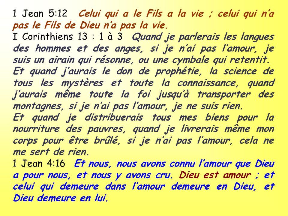 1 Jean 5:12 Celui qui a le Fils a la vie ; celui qui na pas le Fils de Dieu na pas la vie. I Corinthiens 13 : 1 à 3 Quand je parlerais les langues des