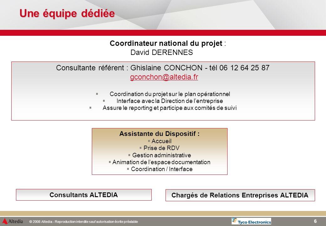 © 2008 Altedia - Reproduction interdite sauf autorisation écrite préalable 6 Une équipe dédiée Consultante référent : Ghislaine CONCHON - tél 06 12 64