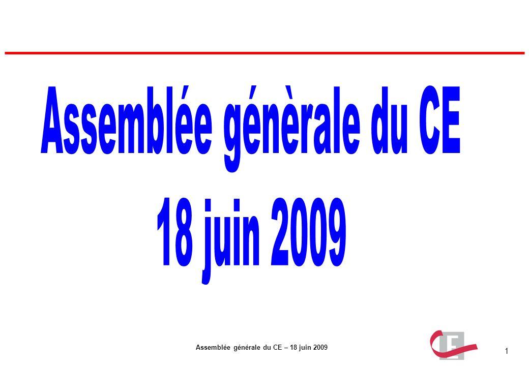 1 Assemblée générale du CE – 18 juin 2009
