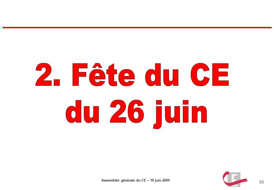 10 Assemblée générale du CE – 18 juin 2009