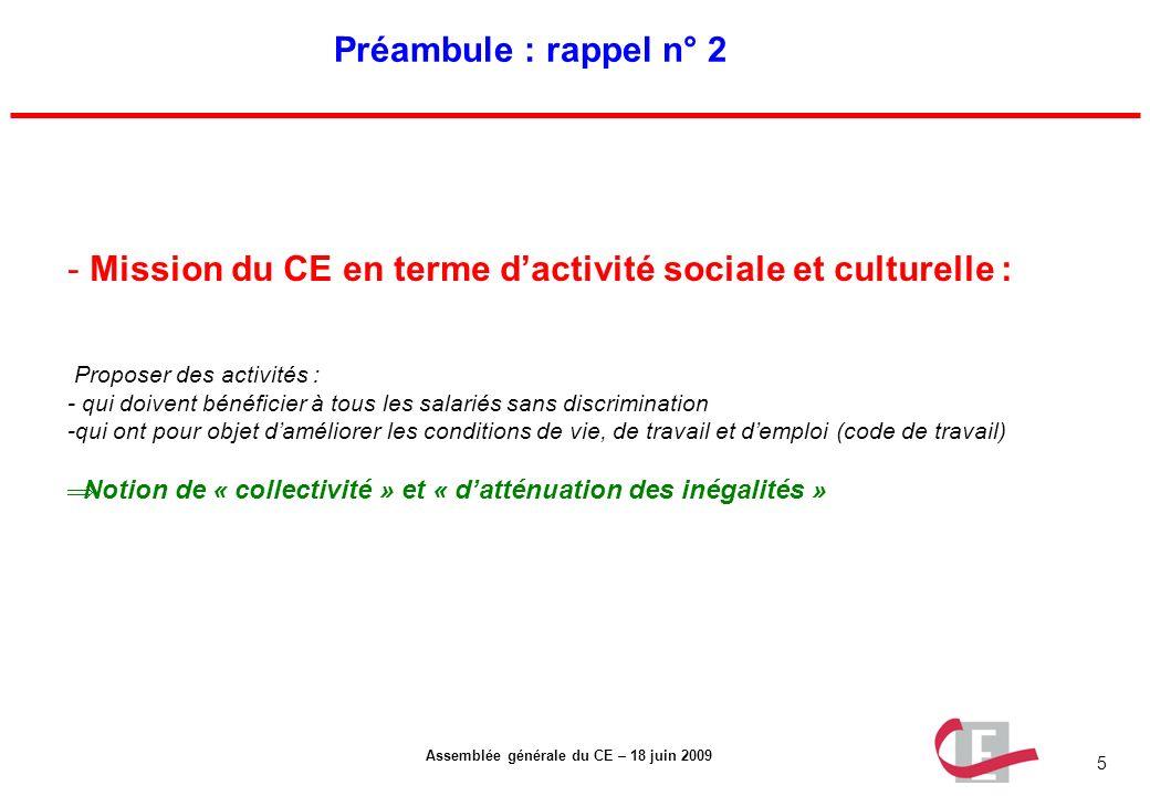 5 Assemblée générale du CE – 18 juin 2009 Préambule : rappel n° 2 - Mission du CE en terme dactivité sociale et culturelle : Proposer des activités :