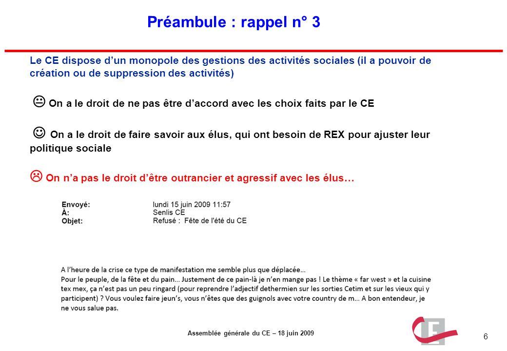 6 Assemblée générale du CE – 18 juin 2009 Préambule : rappel n° 3 Le CE dispose dun monopole des gestions des activités sociales (il a pouvoir de créa