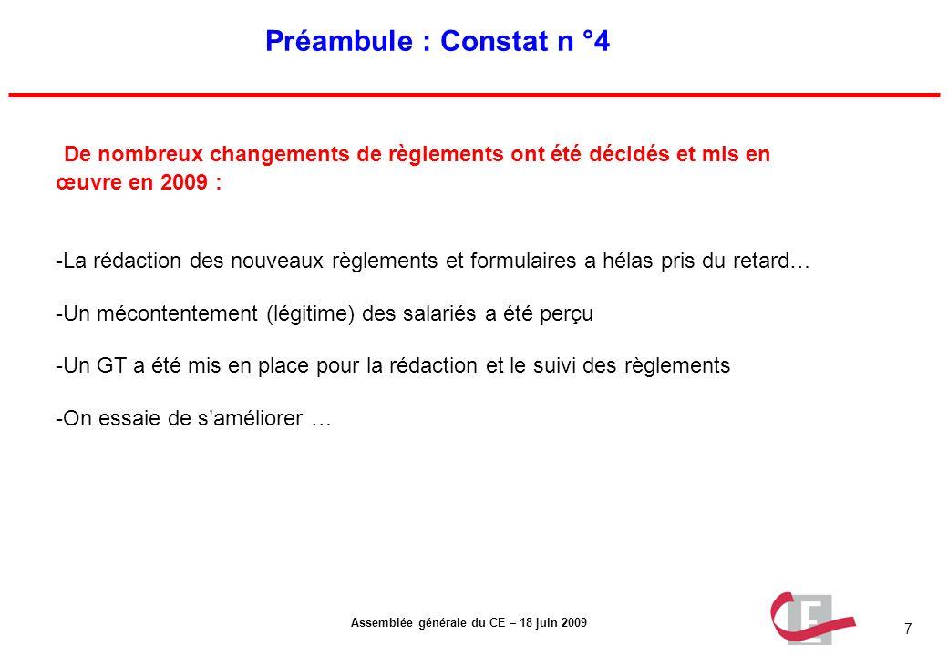 7 Assemblée générale du CE – 18 juin 2009 Préambule : Constat n °4 De nombreux changements de règlements ont été décidés et mis en œuvre en 2009 : -La