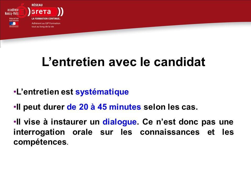Lentretien avec le candidat Lentretien est systématique Il peut durer de 20 à 45 minutes selon les cas.