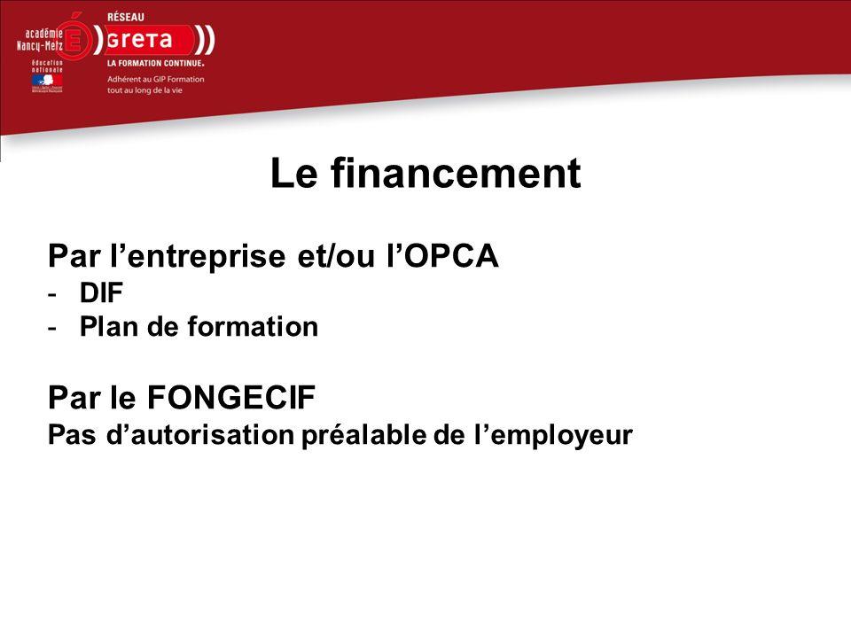 Le financement Par lentreprise et/ou lOPCA -DIF -Plan de formation Par le FONGECIF Pas dautorisation préalable de lemployeur