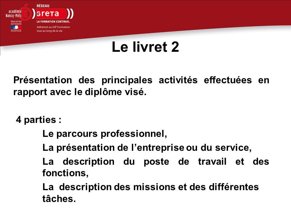 Le livret 2 Présentation des principales activités effectuées en rapport avec le diplôme visé.
