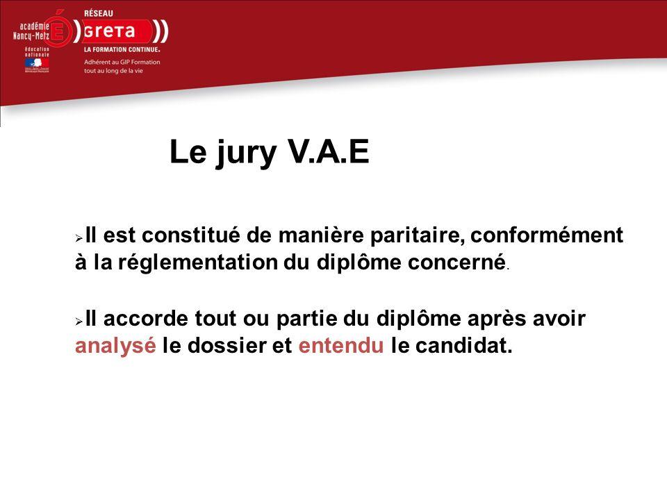 Le jury V.A.E Il est constitué de manière paritaire, conformément à la réglementation du diplôme concerné.