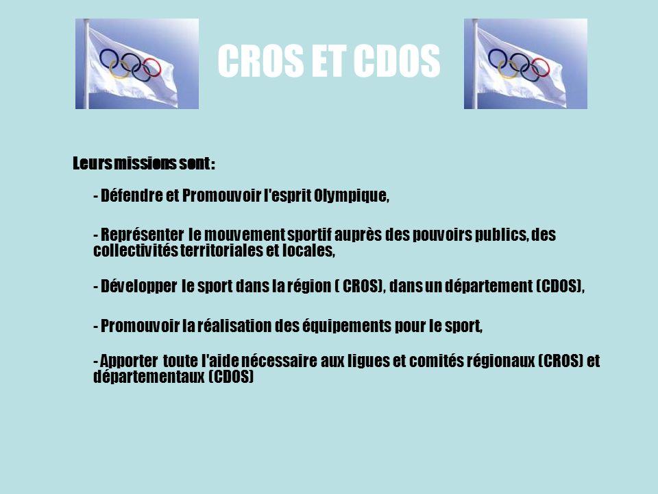 CROS ET CDOS Leurs missions sont : - Défendre et Promouvoir l'esprit Olympique, - Représenter le mouvement sportif auprès des pouvoirs publics, des co