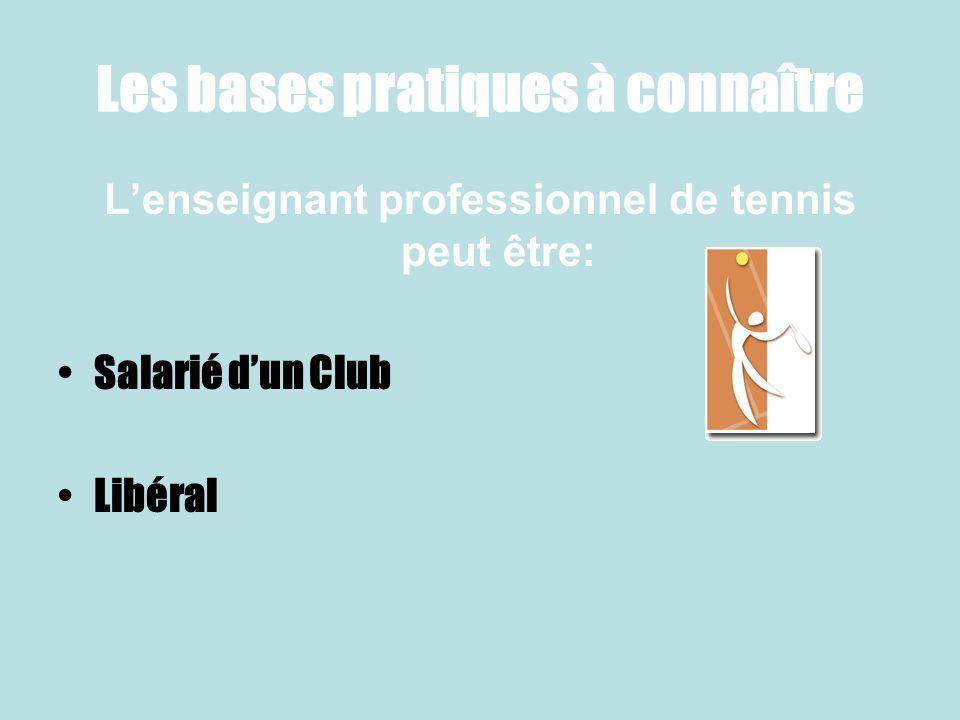 Les bases pratiques à connaître Lenseignant professionnel de tennis peut être: Salarié dun Club Libéral