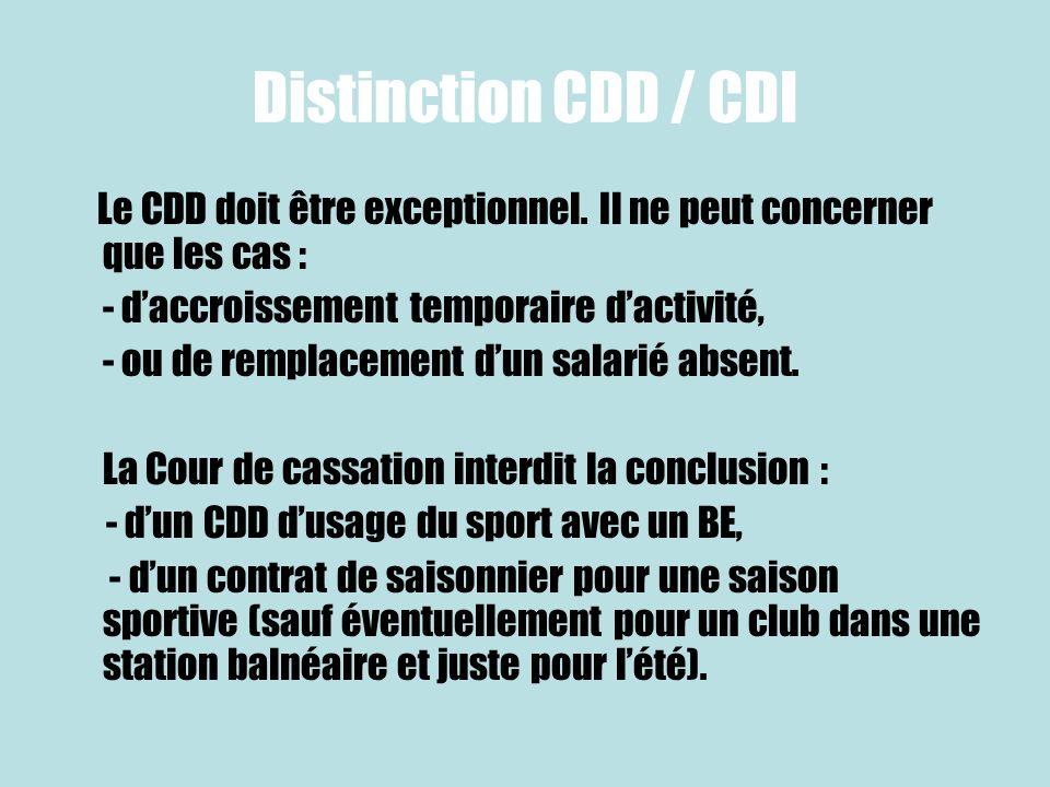 Distinction CDD / CDI Le CDD doit être exceptionnel. Il ne peut concerner que les cas : - daccroissement temporaire dactivité, - ou de remplacement du