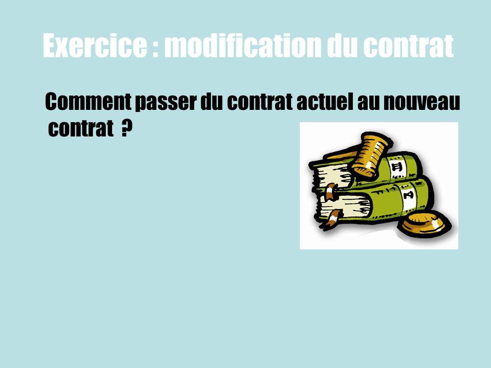 Exercice : modification du contrat Comment passer du contrat actuel au nouveau contrat ?